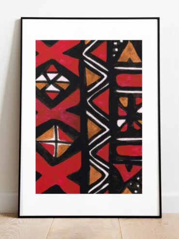 Red Mud Cloth Watercolour Art Print