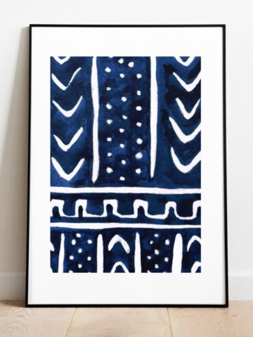 Indigo Cloth Watercolour Art Print