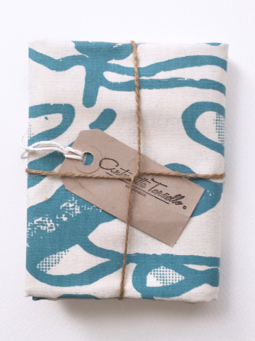 AFRIWEST COLLAR TEATOWEL IN SEA BLUE
