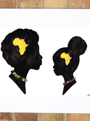AFRICAN WOMAN & CHILD ART PRINT