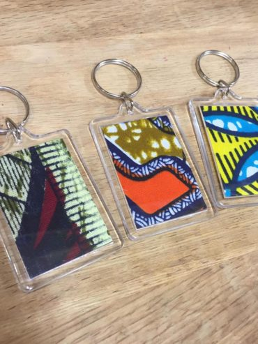 African blue, orange, mauve wax print keyring set of 3