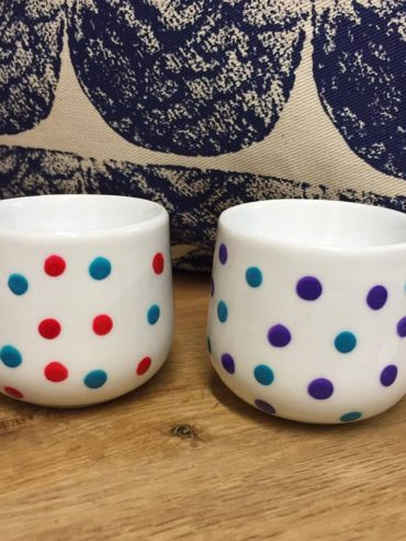Red Blue & Purple Hand Painted Egg Cups