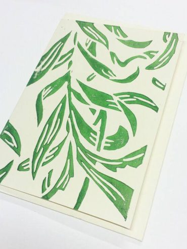 VINE LEAVES LINOCUT GREETING CARD