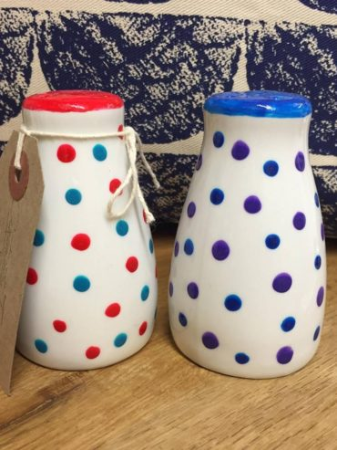 Red, blue & purple hand painted dotty salt n pepper shakers