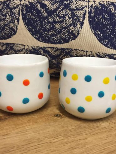 Yellow, blue & orange hand painted dotty egg cups
