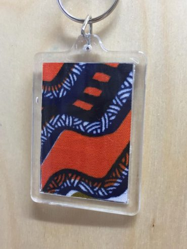 African Orange Wax Print keyring
