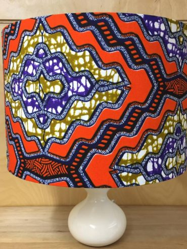 African wax print lampshade in orange, purple & mustard (30cm)