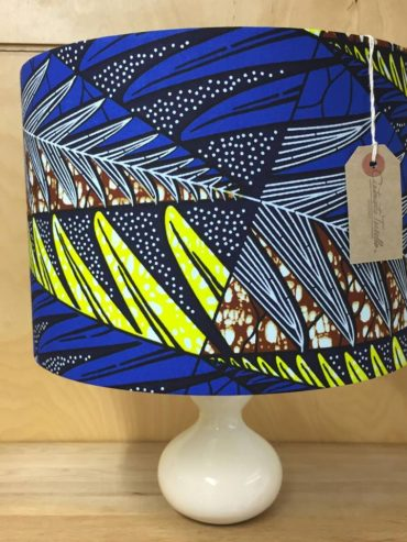 African wax print lampshade in cobalt, lemon & brown – 30cm