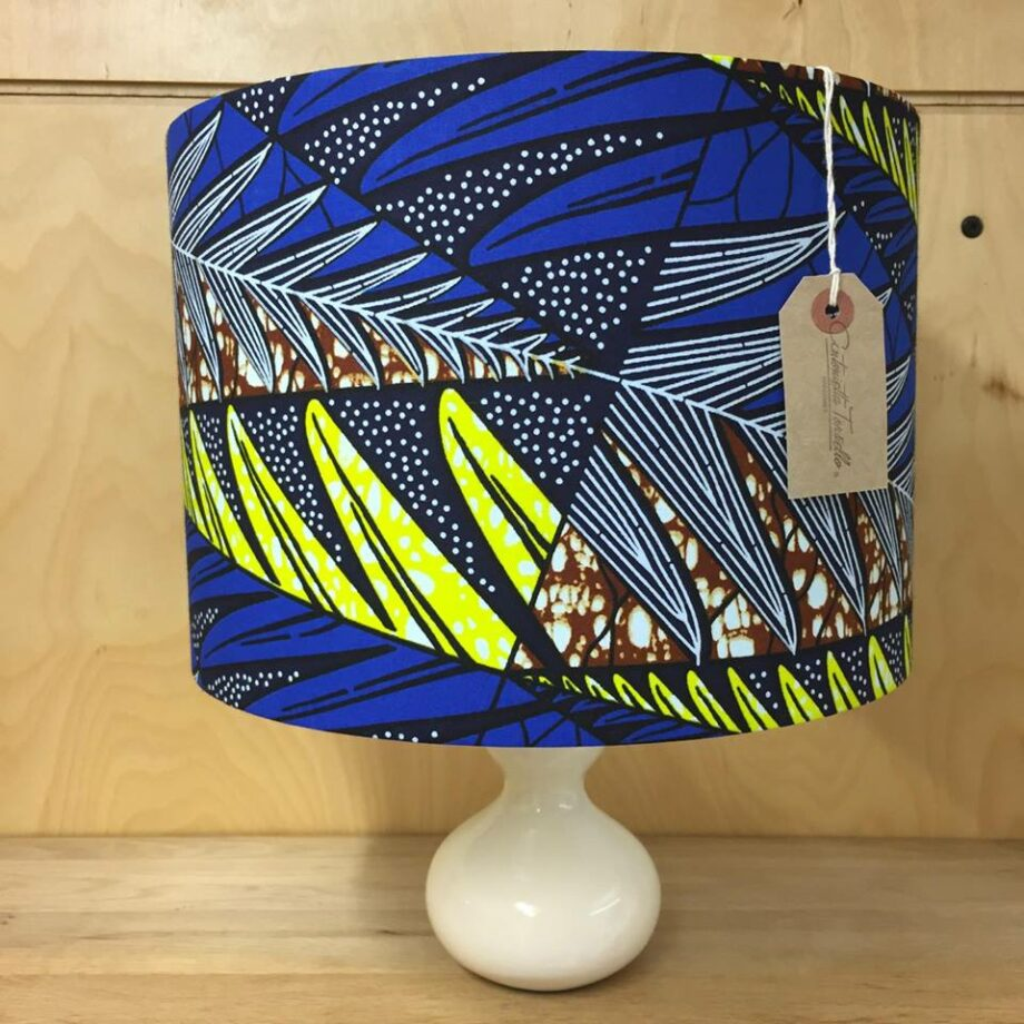 Afriwest eley lampshade in mocha antonietta torsiello african wax print lampshade in cobalt lemon brown 30cm aloadofball Image collections