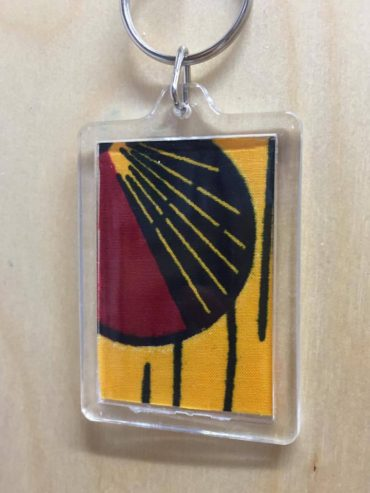 African Yellow Wax Print keyring