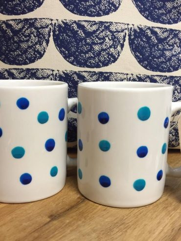 Turquoise & navy hand painted dotty mug set