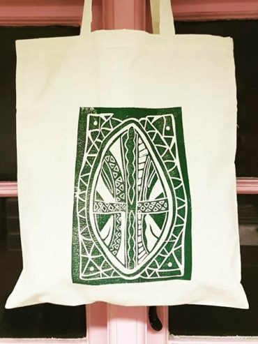 Maasai shield khaki green screen printed tote