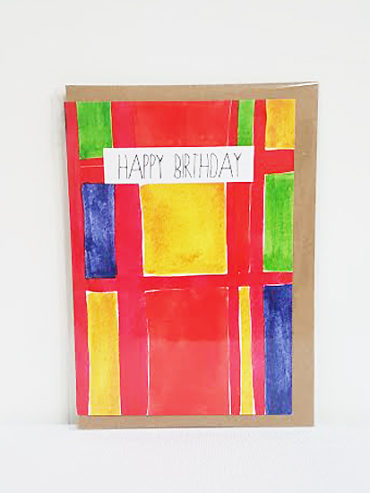 STAINED GLASS HAPPY BIRTHDAY CARD