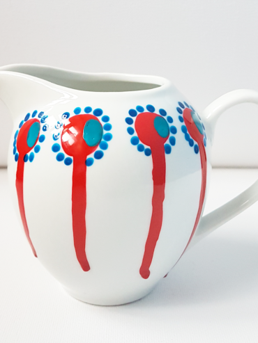 Dripping Stem Ruby Hand Painted Milk Jug
