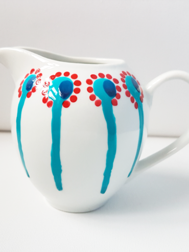 Dripping Stem Turquoise Hand Painted Milk Jug