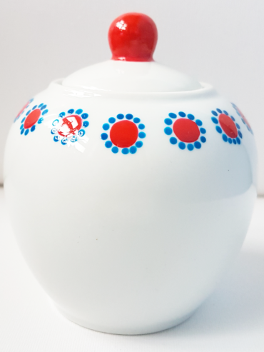 Floral Dot Ruby Hand Painted Sugar Bowl