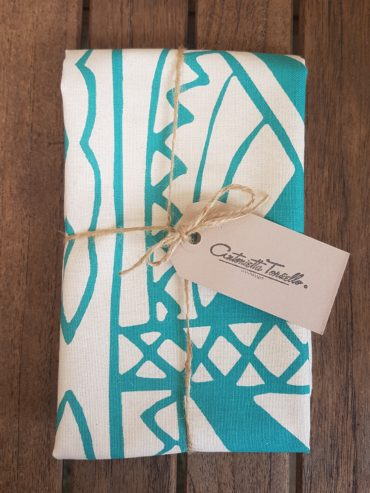 MAASAI SHIELD TEATOWEL IN TEAL