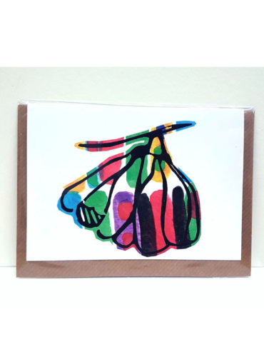 Burst Ackee Linocut Greeting Card