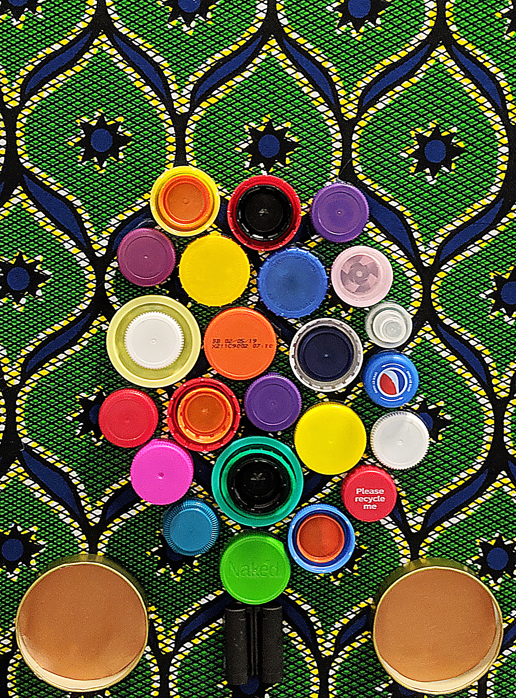 Against the odds - Jam jar lids, bottle tops and fabric on canvas