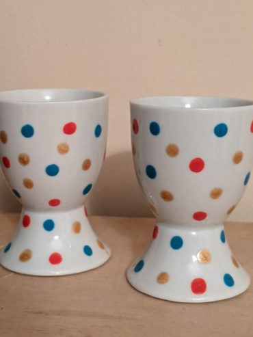 Turquoise, Red, Gold Egg Cups